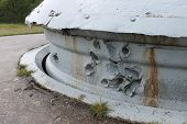 Battle damage twin 75mm gun turret WW1 Fort Froideterre, France