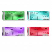 pic of groupies  - Set of color blurred concert tickets - JPG
