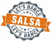 Salsa Dance Vintage Orange Seal Isolated On White