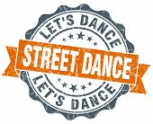 Street Dance Vintage Orange Seal Isolated On White