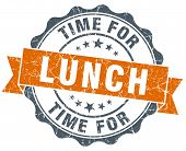 stock photo of lunch  - time for lunch vintage orange seal isolated on white - JPG
