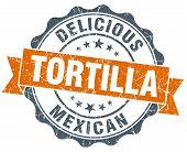Tortilla Vintage Orange Seal Isolated On White