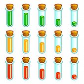 Glass test tubes game progress bar