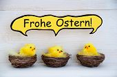 picture of feathers  - Three Sitting Easter Chicks In Easter Baskets Or Nest With Yellow Feathers On White Wooden Background With Comic Speech Balloon With German Text Frohe Ostern Means Happy Easter Used As Easter Decoration Or Easter Greetings - JPG