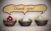 Spotlight To Three Colorful Easter Eggs With Comic Speech Balloon Thank You