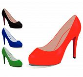 Set of shoes of different colours