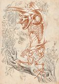 picture of bigfoot  - Illustration of a series of legendary animals and monsters  - JPG