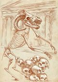 image of minotaur  - Illustration of a series of legendary animals and monsters  - JPG