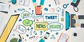 Flat design illustration concept for social network