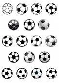 Black and white soccer balls or footballs