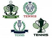 Set of tennis emblems or badges