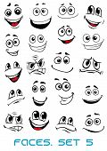stock photo of cartoon character  - Cartoon faces with different expressions - JPG