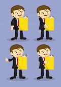 Young Business Executive Doing Corporate Presentation Vector Cartoon Character