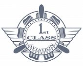 foto of first class  - The vector aviation stamp first class with the engine and propeller - JPG