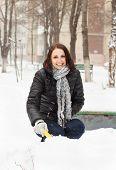 Happy Woman Pleasure To Snow