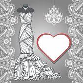 Wedding bridal long dress,paisley border, label, chandelier