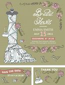 Bridal shower invitation template.Bridal dress,floral decor