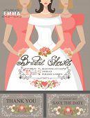 Bridal shower invitation set.Bride,bridesmaids,floral decor