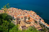 Cefalu Old Town With Duomo Cathedral
