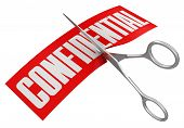 Scissors and confidential (clipping path included)