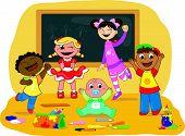 Happy kids in a school class
