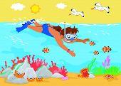 Girl underwater vector
