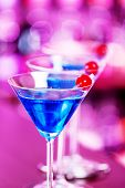 pic of oz  - Blue Martini cocktails on a bar counter - JPG