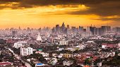 stock photo of petronas twin towers  - The construction of modern city in Bangkok Thailand - JPG