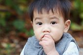 stock photo of snot  - Asian boy was sick and runny nose close up - JPG