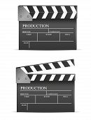 foto of clapper board  - Movie clapper board set isolated on white background - JPG