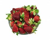 Large bowl of fresh strawberries, isolated