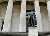Facade of the Federal Hall with Washington Statue on the front Manhattan New York City