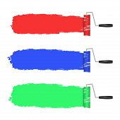 paint roller and paint banners. vector illustration.