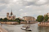 Island Cite With Notre Dame De Paris, Paris