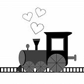 Love Card With Locomotive And Dotted Hearts