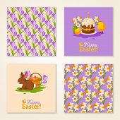 Vintage Happy Easter Greeting Cards. Vector Illustration.