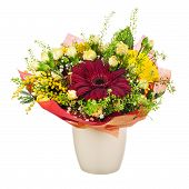 Beautiful Bouquet Of Gerbera, Carnations And Other Flowers In Vase.