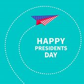 Presidents Day background Paper plane. Dash line spiral
