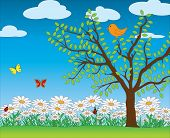 Nature's spring scene vector