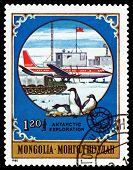 Vintage  Postage Stamp.  Soviet Plane And  Penguins.