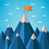 picture of apex  - Vector success or leadership concept with mountain landscape - JPG