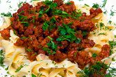 foto of grating  - Pasta with tomato sauce basil and grated parmesan - JPG
