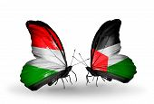 Two Butterflies With Flags On Wings As Symbol Of Relations Hungary And Palestine