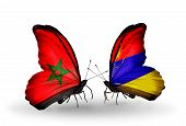 Two Butterflies With Flags On Wings As Symbol Of Relations Morocco And Armenia