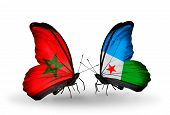 Two Butterflies With Flags On Wings As Symbol Of Relations Morocco And Djibouti