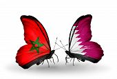 picture of qatar  - Two butterflies with flags on wings as symbol of relations Morocco and Qatar - JPG