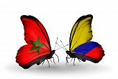 Two Butterflies With Flags On Wings As Symbol Of Relations Morocco And Columbia
