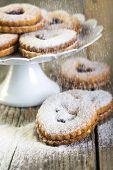 Linzer Cookies Sprinkled With Powdered Sugar