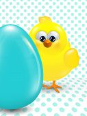 Easter Chick And Egg Over Dotted  Background