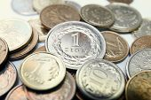 stock photo of lien  - close up of Polish zloty coins - JPG